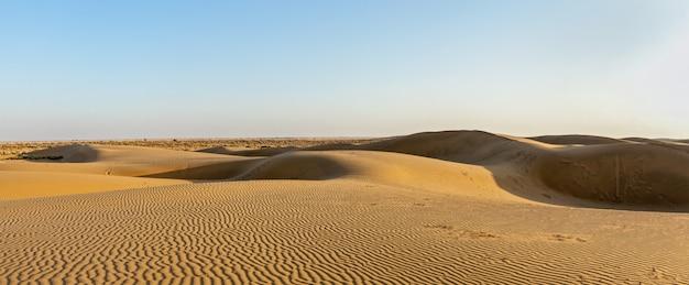 Panorama of dunes in thar desert, rajasthan, india