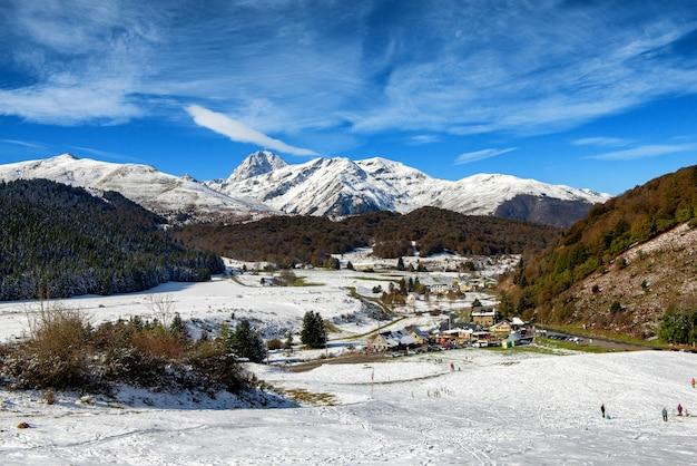 Panorama of french pyrenees mountains with pic du midi de bigorre