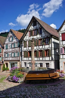 Panorama from the market square of schiltach, in the black forest, germany.