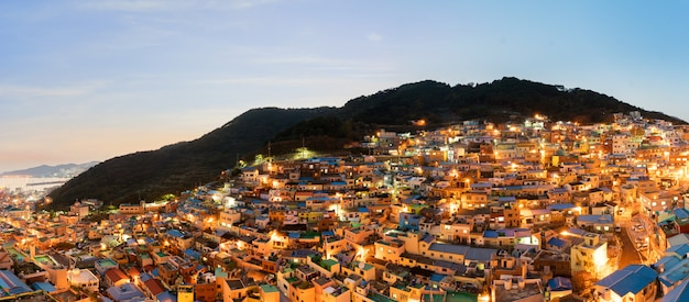 Panorama of gamcheon culture village at night in busan, south korea.
