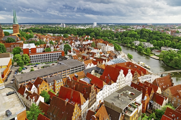 Panorama of german city of lubeck