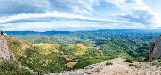 Panorama of green mountains pyrenees near barcelona, spain