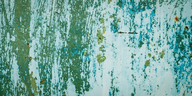 Panorama grunge surface green metal texture and background with copy space