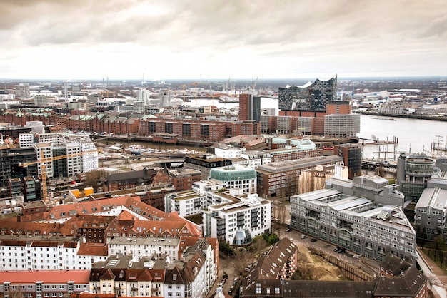 Panorama of hamburg and elbe river on moody day