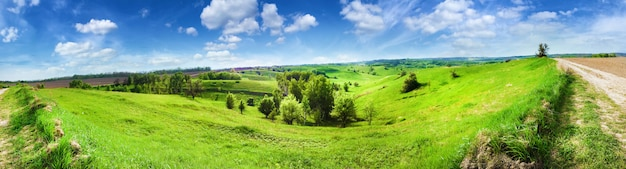 Panorama of hilly landscape with bright blue cloudy sky