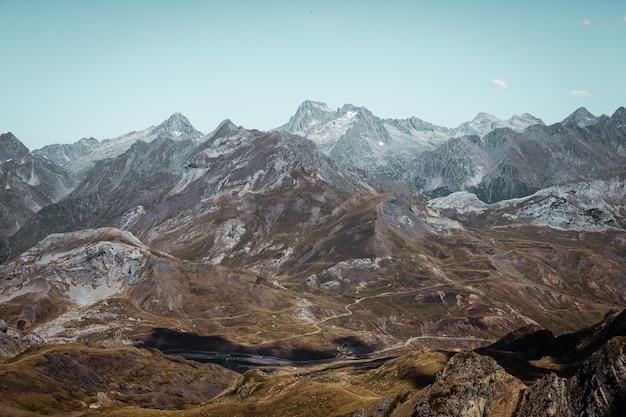 Panorama of the horizon of high mountains