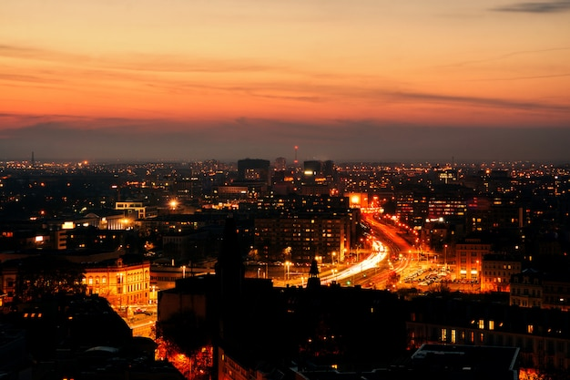 Panorama of the illuminated old part of wroclaw at night.