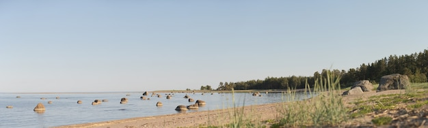 Panorama of the lagoon at sea. many reefs in the water