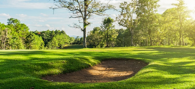 Panorama landscape golf crouse with sunlight