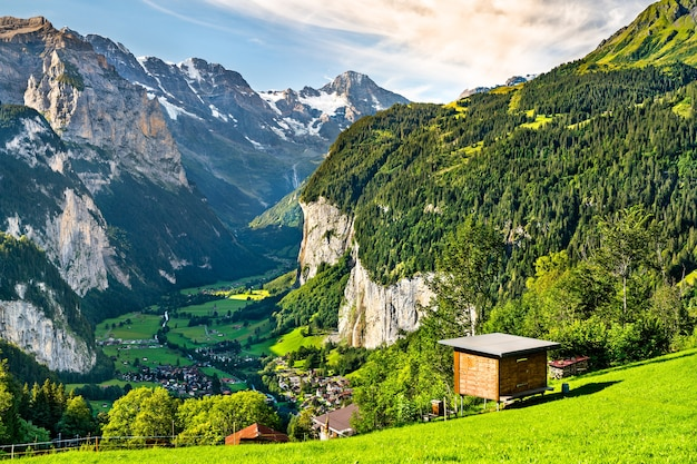 Panorama of the lauterbrunnen valley from wengen in the swiss alps Premium Photo