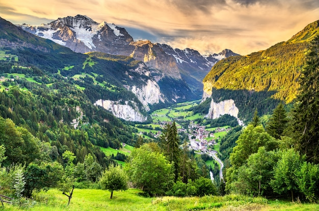 Panorama of the lauterbrunnen valley from wengen in the swiss alps