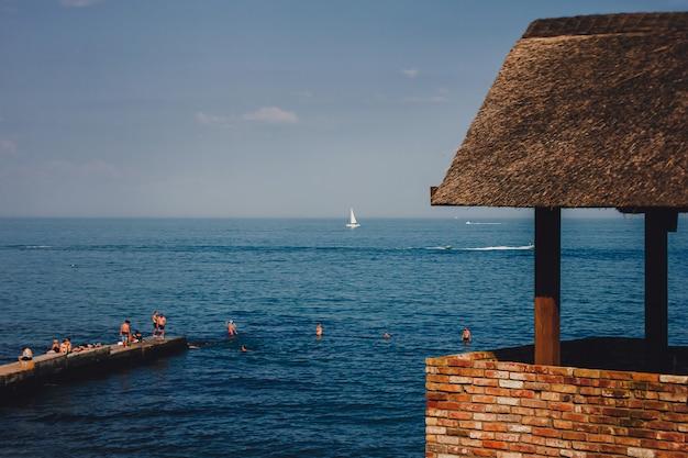 Panorama. modern luxury villa on the beach.