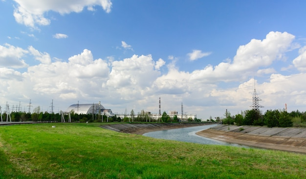 체르노빌 원자력 발전소 근처의 파노라마입니다.