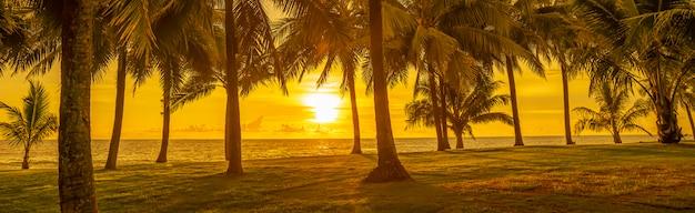 Панорама тропического пейзажа пальмы у моря на желтом фоне
