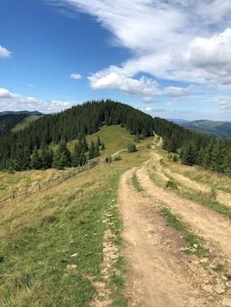 山の芝生のフィールドと丘の美しい曇りの風景のパノラマ