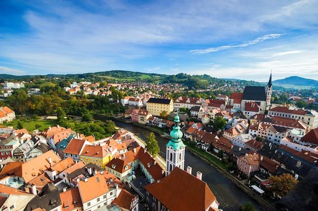 Панорама города чески-крумлов, чехия.