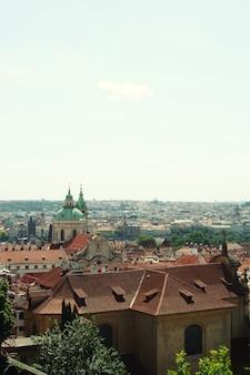 Панорама карлова моста, вид из замка, прага, чешская республика