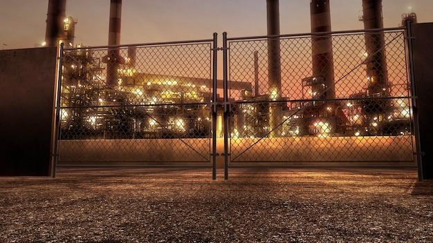 日没の夏の日に多くの大きな工場のパイプがある街の風景のパノラマ。ビジネスや企業のテンプレートのためのモダンで豪華な3dイラストスタイル