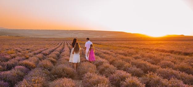 紫色の花のラベンダー畑で子供と家族のパノラマ