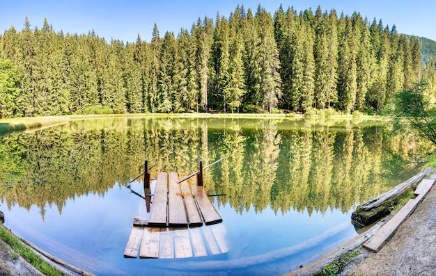 푸른 물, 나무 다리, 아침 햇살, 빛나는 태양이 있는 숲 속의 호수 파노라마