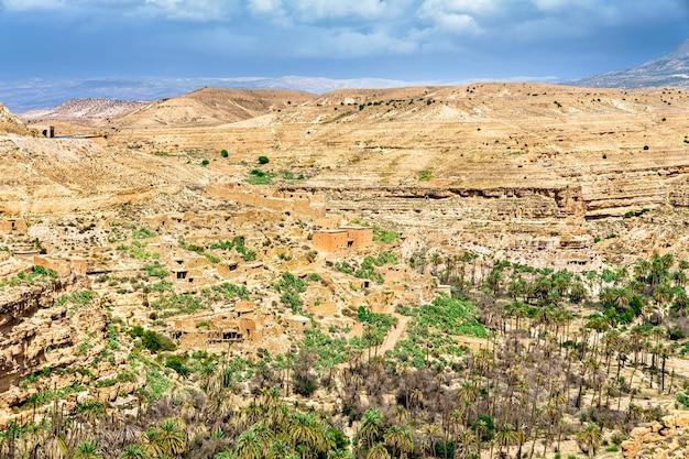 알제리, 북 아프리카에있는 ghoufi 협곡의 파노라마