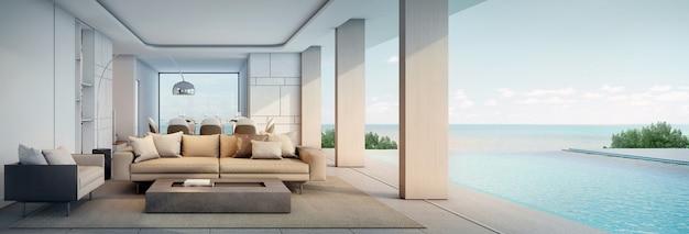 Панорама гостиной современного пляжного домика или отеля с бассейном и террасой