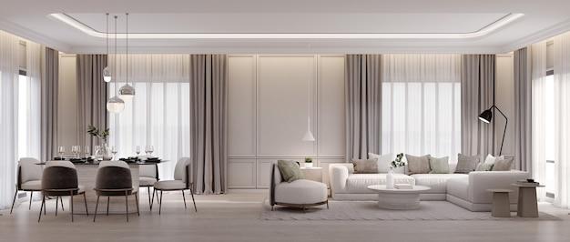 Панорама роскошной гостиной и столовой с диваном-креслом