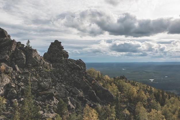 国立公園カチカナル、ロシア、ヨーロッパの山のシーンのパノラマ。曇りの天気、劇的な青い空、遠くの緑の木々。カラフルな夏の日