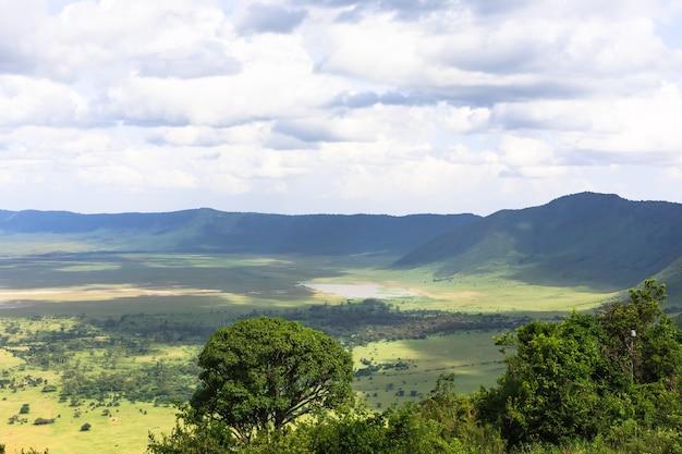 Панорама кратера нгоро-нгоро. озеро находится внутри кратера. танзания, африка