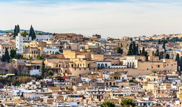 Панорама старой медины в фесе. марокко, северная африка