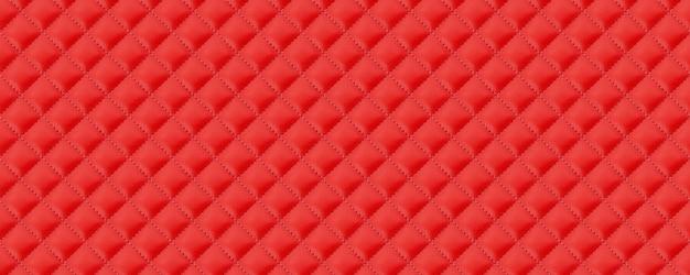 縫い目の背景と赤い革の質感のパノラマ。赤い革の質感の背景。