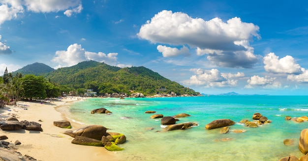 Панорама серебряного пляжа на острове самуи, таиланд