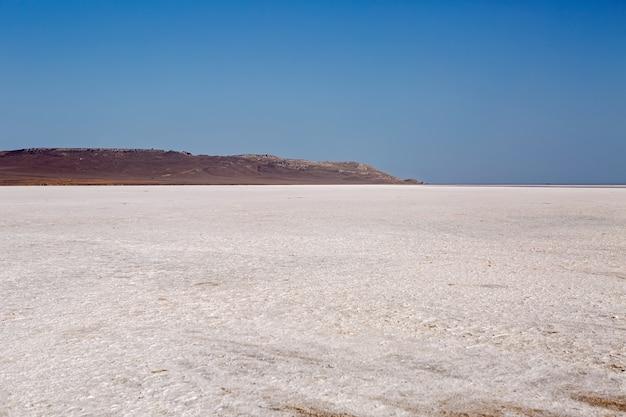 ロシアのクリミア半島の夏の大きな干上がった湖のパノラマ