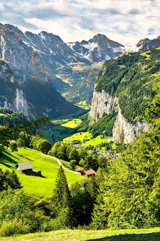 스위스 알프스의 wengen에서 라우터 브루 넨 계곡의 파노라마