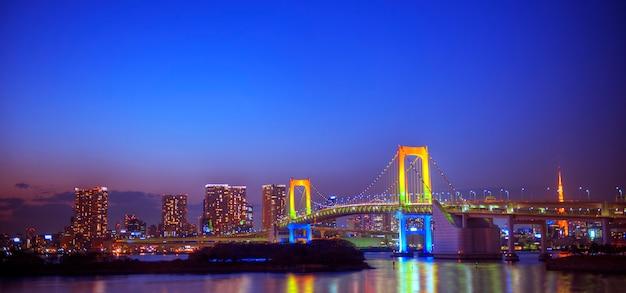 東京のレインボーブリッジのパノラマ。