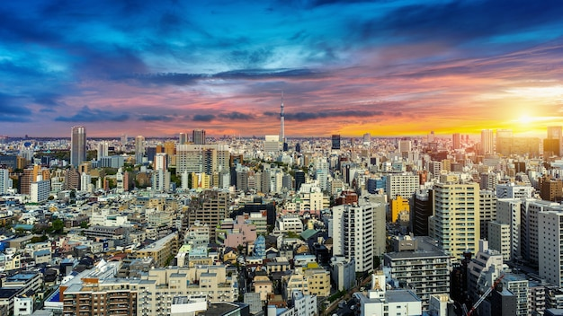 日本の日没時の東京の街並みのパノラマ。