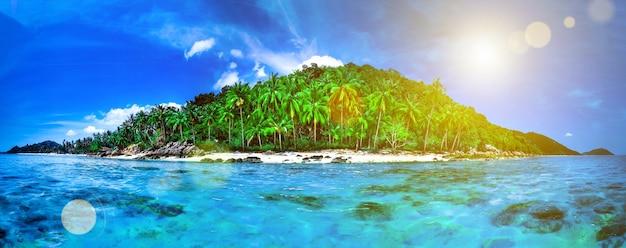 인도양에 환초가 있는 열대 섬 전체의 파노라마. 야자수가 있는 무인도의 야생 아열대 섬입니다. 푸른 맑은 바닷물, 흐린 하늘에 빛나는 태양. 휴일 및 휴가 개념