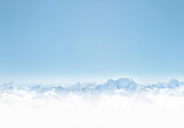 눈 겨울 산의 파노라마입니다. 디자인을위한 공간 배경 복사