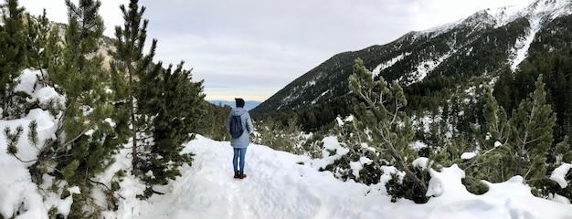 Панорама женщины, походы в горы зимой. живописный вид
