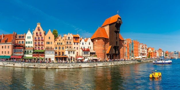 Panorama of old town and motlawa in gdansk, poland
