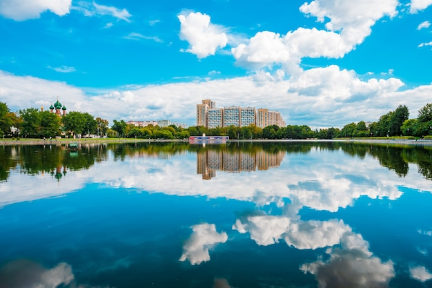 Panorama of ostankino pond and residential buildings in moscow