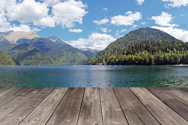 Panorama overlooking rits's lake in mountains in abkhazia in a summer sunny day.