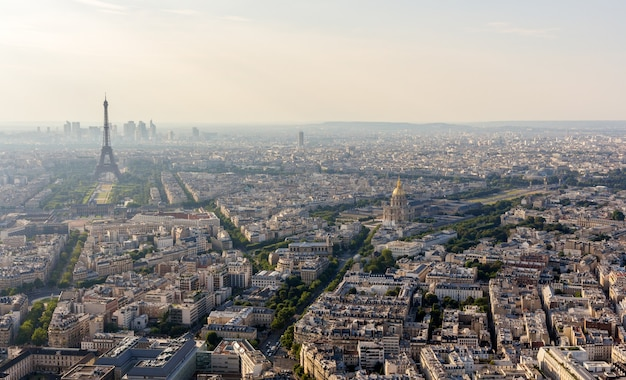 Panorama of paris from the maine montparnasse tower in france