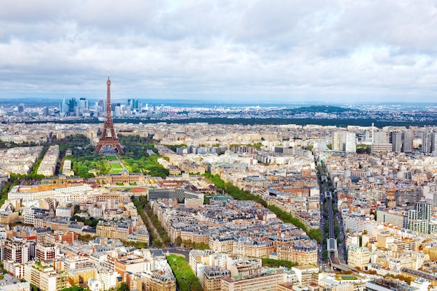 Panorama of paris from the montparnasse tower. france(district  la defense)