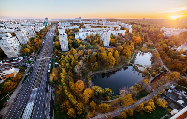 Panorama of the park in moscow, aerial view in autumn season.