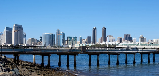 Panorama of a pier in san diego with cityscape