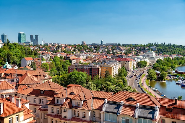 Panorama of prague on a sunny day. czech republic