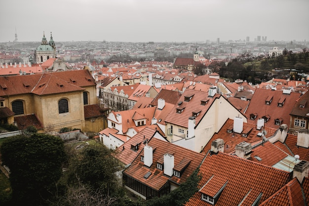 Panorama of prague with red roofs and church. city view of praha old city. rustic grey colors toning