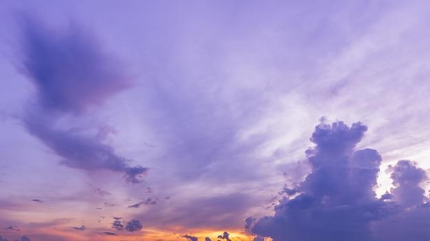 パノラマ紫の薄明の空と雲