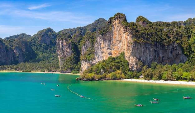 Panorama  of  railay beach in krabi in thailand